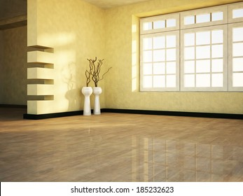 empty  room with the window and the vases