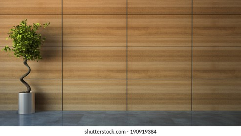 Empty room with wood wall 3D