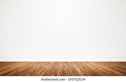 Empty room with wooden floor background. Table top for advertising and copy space. Architecture and interior concept. 3D illustration rendering