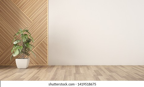 Empty room with wooden panel and potted plant, parquet floor. White wall background with copy space. Interior design concept idea, modern architecture template, 3d illustration