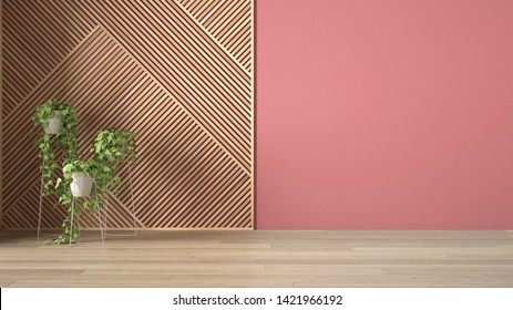 Empty room with wooden panel and potted plant, parquet floor. Red wall background with copy space. Interior design concept idea, modern architecture template, 3d illustration