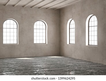 Empty rooms and arch windows and beams. Concrete floor and plaster wall loft modern interior. 3D render
