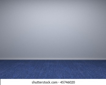 Empty room's wall with blue carpet