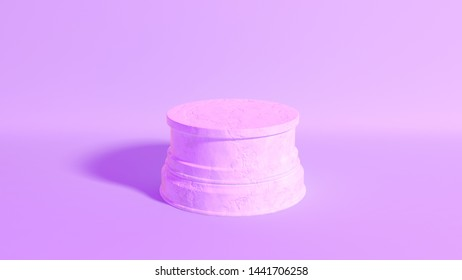 An empty round marble stone trophy base on an isolated pastel purple studio environment - 3D render