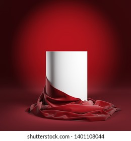 Empty round podium or presentation pedestal with red silk cloth. 3d illustration
