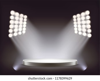 Empty round white podium, pedestal, stage illuminated by white beams of spotlights isolated on dark background. Realistic platform illustration. Mock-up element for your product presentation