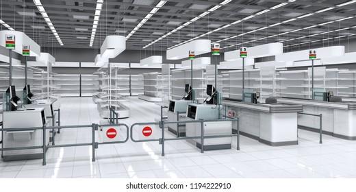 Empty sales area store view through self-checkout. 3d illustration