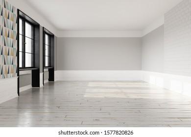Empty Scandinavian interior with light wooden floor and light grey walls.  3D rendering