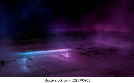 Empty scene  with glowing pink and blue smoke environment atmosphere reflect on floor.  Fashion vibrant colors spectrum background. 3d rendering.