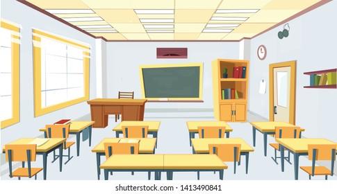 Empty School Class Room Interior Board, Desk, School Supplies Illustration