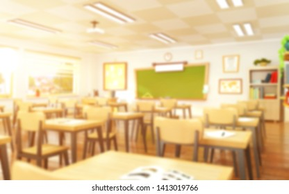 Empty school classroom in cartoon style. Education concept without students. 3d rendering interior illustration. Back to school design template.