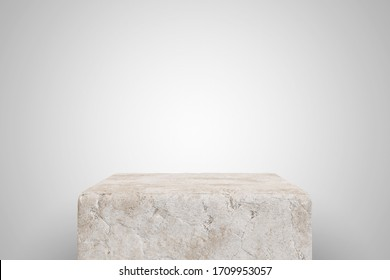 Empty scratched concrete podium on white background. Best for product presentation. 3d rendered cube pedestal for placement.