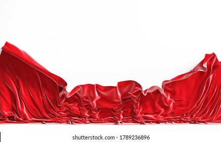 Empty screen with falling red cloth. 3d illustration