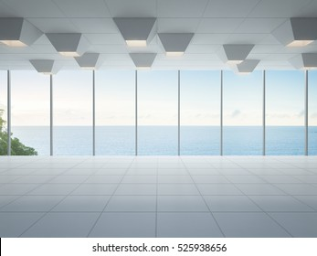 Empty sea view room, Modern white interior of luxury home - 3D rendering