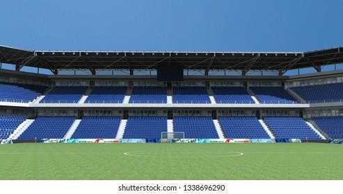Empty seats football stadium background,3D rendering
