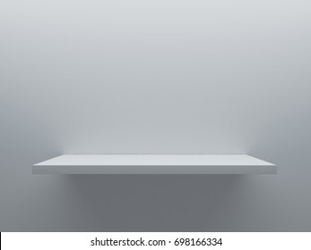 empty shelf stand on the wall 3D rendering