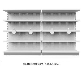 Empty Shelf With Wobblers. 3D rendering