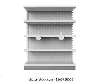 Empty Shelf With Wobblers. 3D rendering