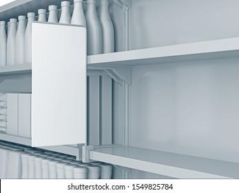 Empty shelves with shelf-stopper in supermarket. 3D rendering