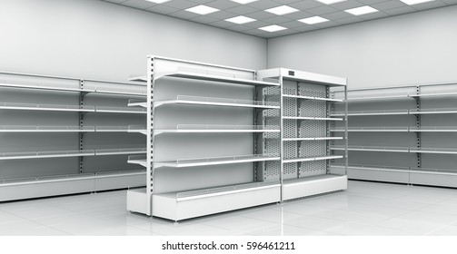 Empty shelves showcases in the store, showcase refrigerator. 3d image