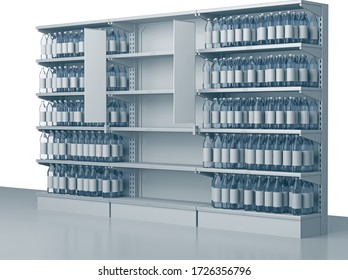 Empty shelves in the supermarket. Selves with many goods in perspective. 3D rendering