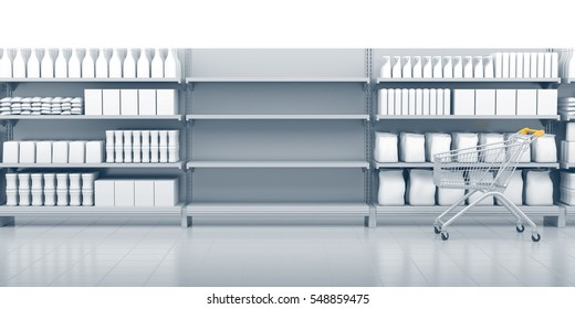 Empty shelves in the supermarket. Set of shelves with many goods and cart. 3D rendering