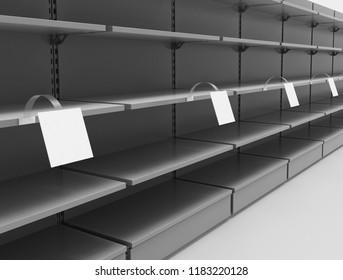Empty shelves in a supermarket with square wobblers in perspective. 3d illustration.