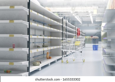 Empty shelves in supermarket store due to China novel coronavirus covid-19 (2019-nCoV) outbreak panic. Face masks are sold out. China, Italy, Iran, USA pathogen virus pandemic spread 3D illustration