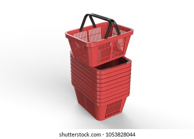 Empty shopping basket isolated on white background. Basket cart. 3D rendering