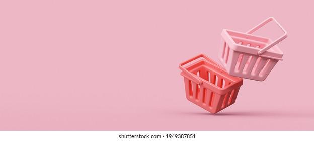 Empty shopping baskets on pink background. 3d rendering illustration.