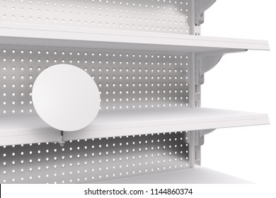 Empty showcase shelves with blank label. 3d render