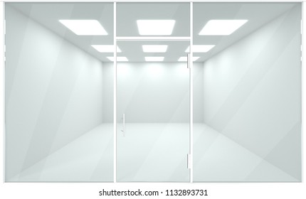 Empty showroom interior, template mock up 3d render, vitrine storefront, perspective architecture.