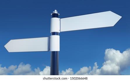 Empty signpost - copy space - 3D illustration