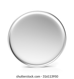 Empty silver coin or medal isolated on a white background