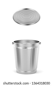 Empty silver trash can with lid on white background, 3D illustration