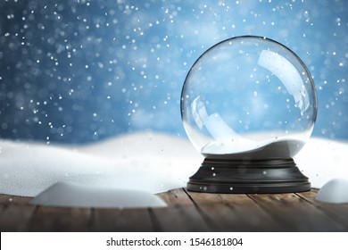 Empty snow globe Christmas background. 3d illustration