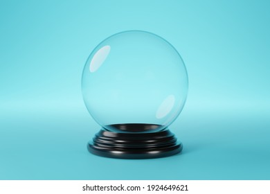 Empty snow globe, glass sphere, on blue background, 3d rendering