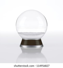 Empty snow globe on white background