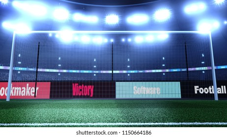 Empty soccer stadium with lights and crowd. 3D render