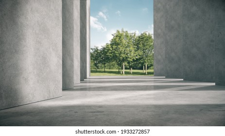 Empty space for products show in concrete hallway with park background.3D rendering.