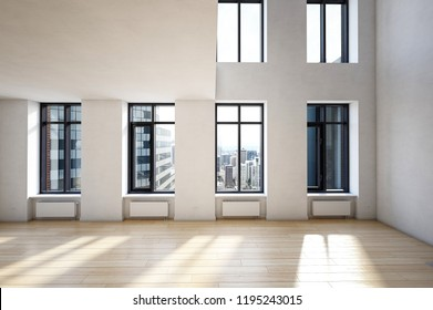 Empty spacious interior of modern building with high ceiling and city downtown view behind the windows. 3d Rendering.
