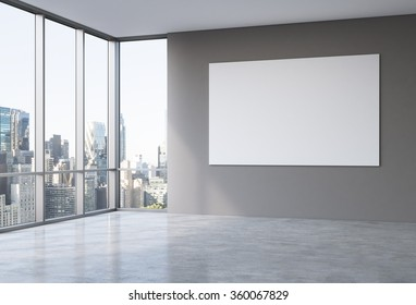 Empty spacious office in a skyscraper, Panoramic window to the left, New York view, big white board on the grey wall. Concept of work.