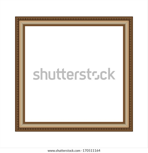 An empty square beaded gold picture frame.
