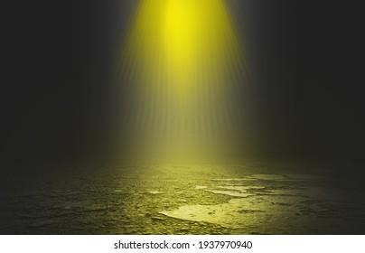 Empty stage background, smoke, fog, smog. Yellow neon glow, spotlight. 3d illustration