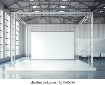 Empty stage with metal framework and blank billboard in modern exhibition interior with bright light. 3d rendering