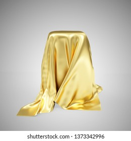 Empty Stand Covered with Golden Cloth Fabric on gradient background. 3D rendering