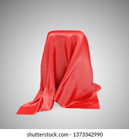 Empty Stand Covered with Red Cloth Fabric on gradient background. 3D rendering