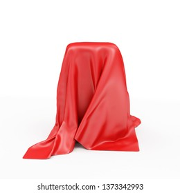 Empty Stand Covered with Red Cloth Fabric isolated on white background. 3D rendering
