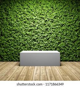 Empty stand for demonstration on background of vertical garden. 3D illustration.