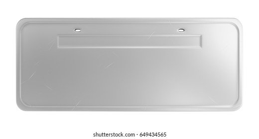 Empty steel car plate with scratches isolated on white background. 3D image.